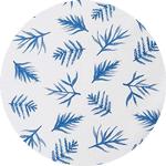 blue printed leaves